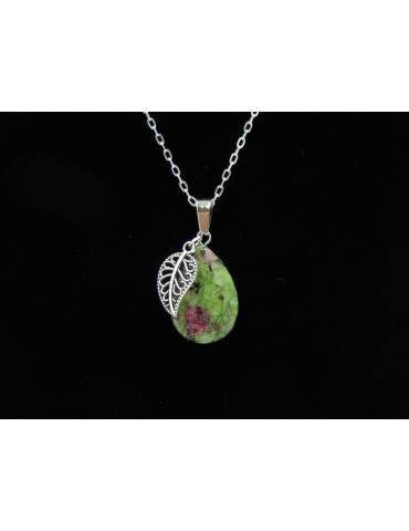 Collier rubis zoisite 24x16 mm