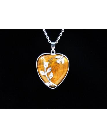 Collier cœur œil de tigre