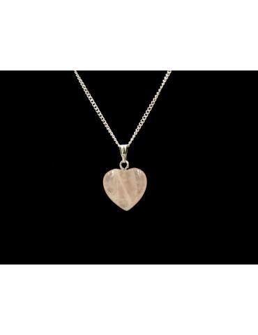 Collier cœur en quartz rose...